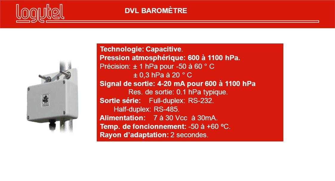 Technologie: Capacitive. Pression atmosphérique: 600 à 1100 hPa. Précision: ± 1 hPa pour -50 à 60 ° C ± 0,3 hPa à 20 ° C Signal de sortie: 4-20 mA pou