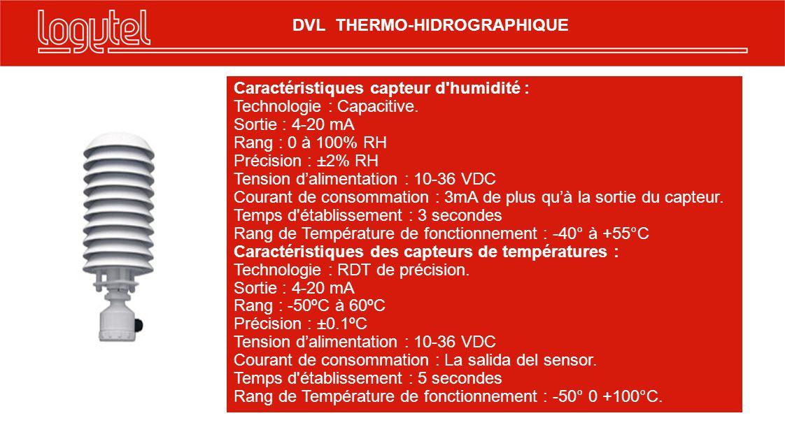 Caractéristiques capteur d'humidité : Technologie : Capacitive. Sortie : 4-20 mA Rang : 0 à 100% RH Précision : ±2% RH Tension dalimentation : 10-36 V