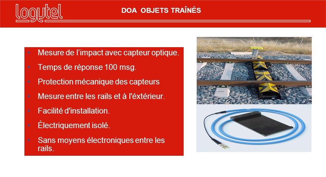 Mesure de limpact avec capteur optique. Temps de réponse 100 msg. Protection mécanique des capteurs Mesure entre les rails et à l'éxtérieur. Facilité