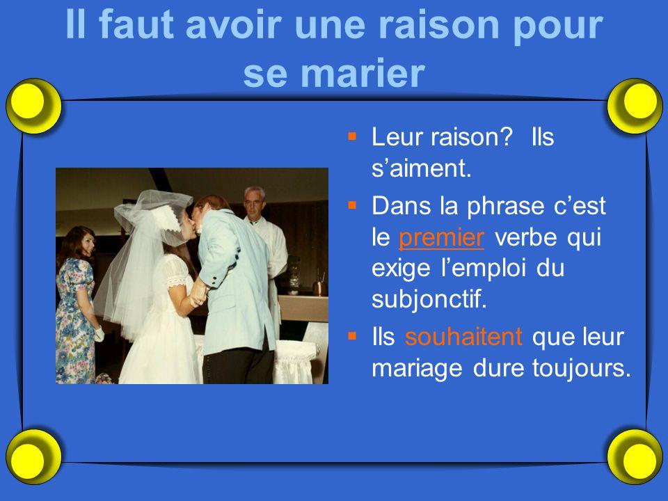 Il faut avoir une raison pour se marier Leur raison? Ils saiment. Dans la phrase cest le premier verbe qui exige lemploi du subjonctif. Ils souhaitent