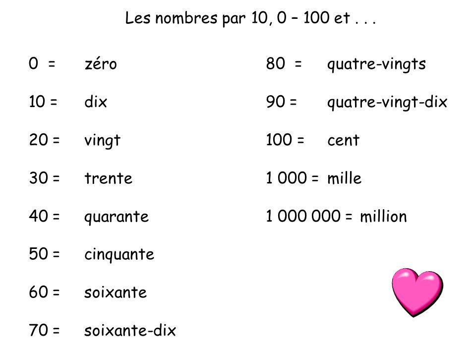 Les nombres par 10, 0 – 100 et... 0 = 10 = 20 = 30 = 40 = 50 = 60 = 70 = 80 = 90 = 100 = 1 000 = 1 000 000 = zéro dix vingt trente quarante cinquante