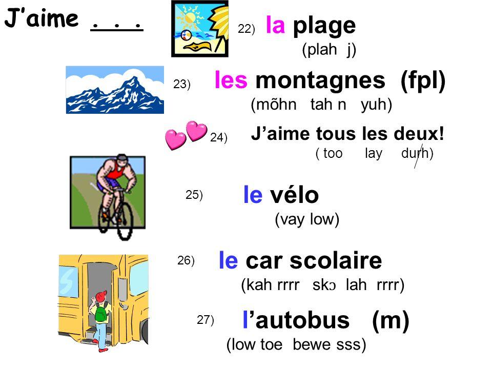 Dickerson 28A) lécole ( lay k ɔ h l ) ( sauf pour la classe de français!) (sew f poor) (except for) 28B) Je naime pas...