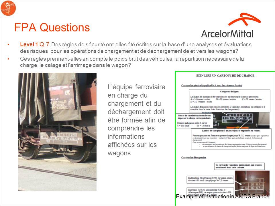 3 FPA Questions Level 1 Q 7 Des règles de sécurité ont-elles été écrites sur la base d une analyses et évaluations des risques pour les opérations de chargement et de déchargement de et vers les wagons.