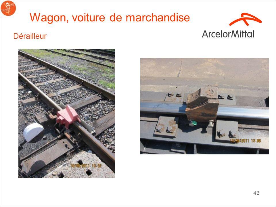 42 Wagon, voiture de marchandise Exemples de sabot de rail avec cadenas