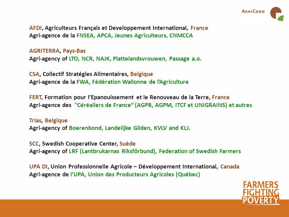 AFDI, Agriculteurs Français et Developpement International, France Agri-agence de la FNSEA, APCA, Jeunes Agriculteurs, CNMCCA AGRITERRA, Pays-Bas Agri