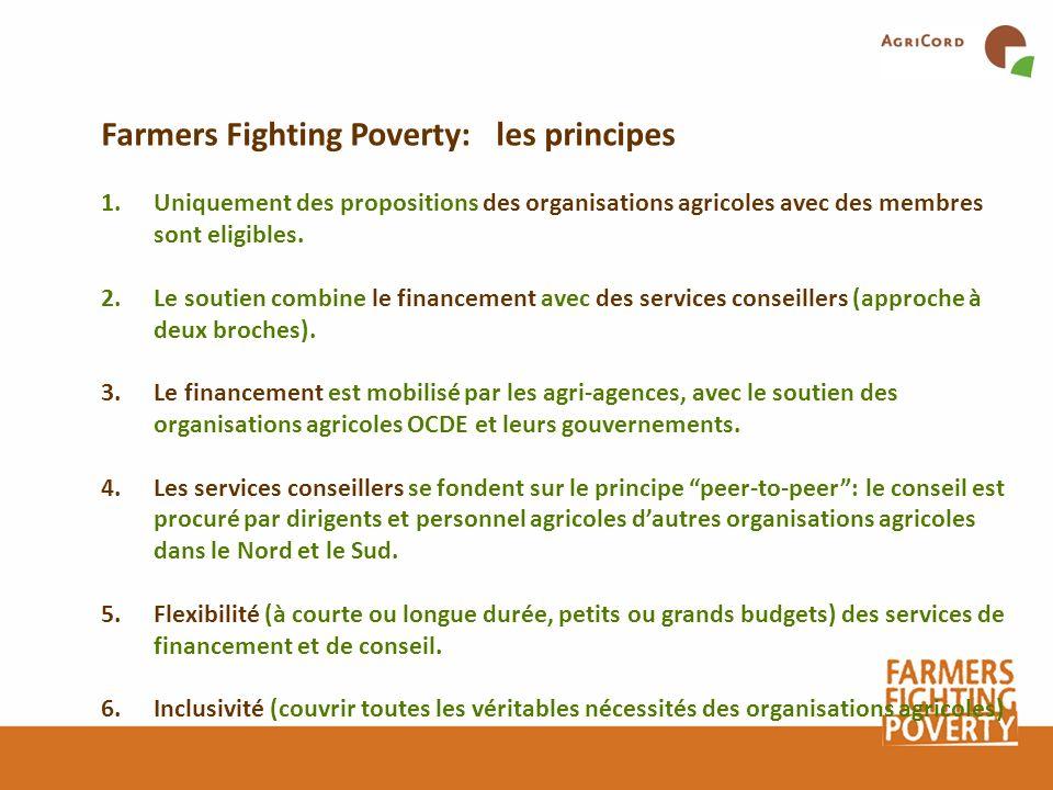 1.Uniquement des propositions des organisations agricoles avec des membres sont eligibles. 2.Le soutien combine le financement avec des services conse