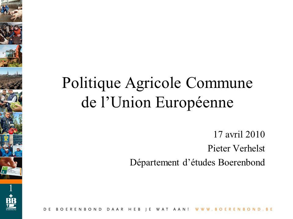 1 Politique Agricole Commune de lUnion Européenne 17 avril 2010 Pieter Verhelst Département détudes Boerenbond