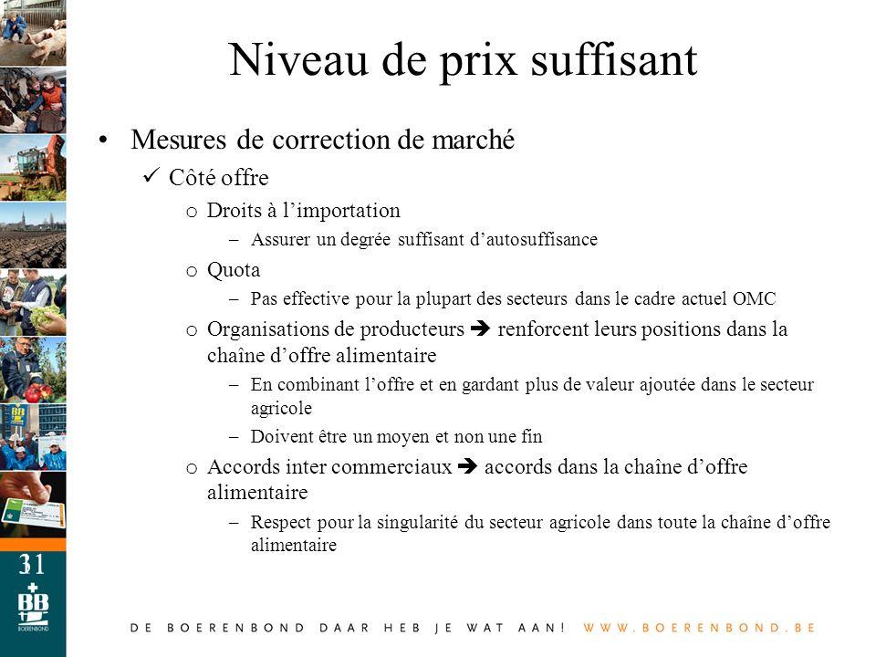 11 Mesures de correction de marché Côté offre o Droits à limportation –Assurer un degrée suffisant dautosuffisance o Quota –Pas effective pour la plup