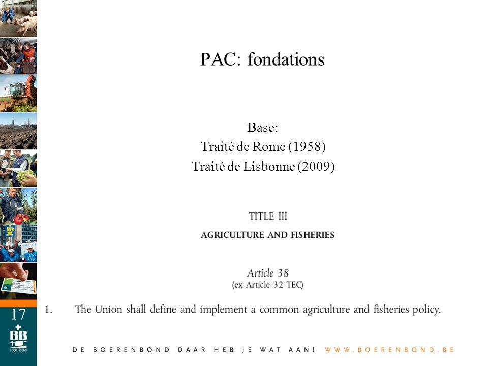 17 PAC: fondations Base: Traité de Rome (1958) Traité de Lisbonne (2009)