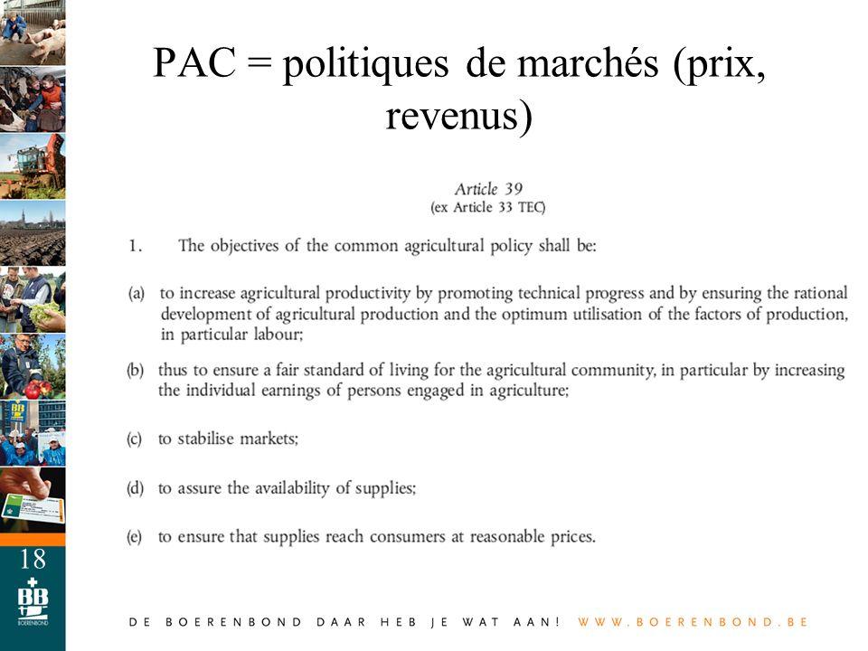18 PAC = politiques de marchés (prix, revenus)