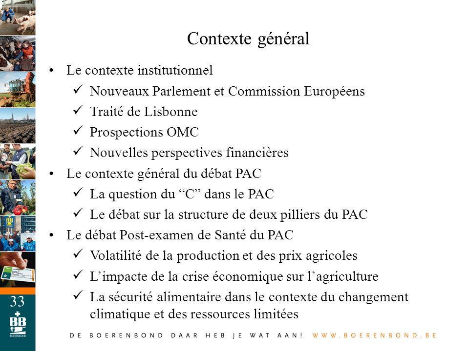 33 Contexte général Le contexte institutionnel Nouveaux Parlement et Commission Européens Traité de Lisbonne Prospections OMC Nouvelles perspectives f
