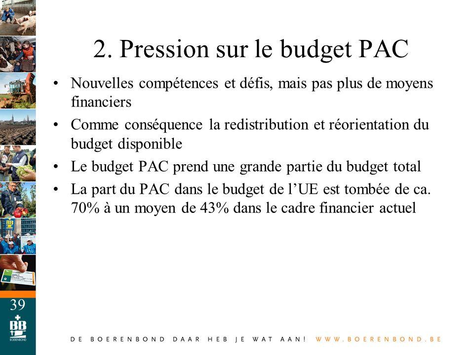 39 Nouvelles compétences et défis, mais pas plus de moyens financiers Comme conséquence la redistribution et réorientation du budget disponible Le bud