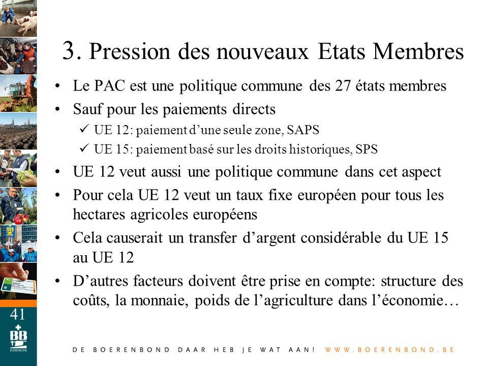 41 Le PAC est une politique commune des 27 états membres Sauf pour les paiements directs UE 12: paiement dune seule zone, SAPS UE 15: paiement basé su