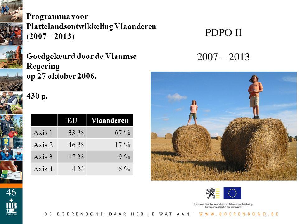 46 Programma voor Plattelandsontwikkeling Vlaanderen (2007 – 2013) Goedgekeurd door de Vlaamse Regering op 27 oktober 2006. 430 p. EUVlaanderen Axis 1