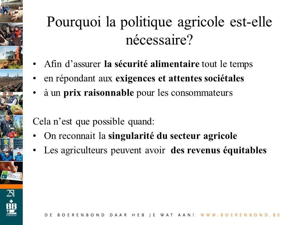 5 Pourquoi la politique agricole est-elle nécessaire? Afin dassurer la sécurité alimentaire tout le temps en répondant aux exigences et attentes socié
