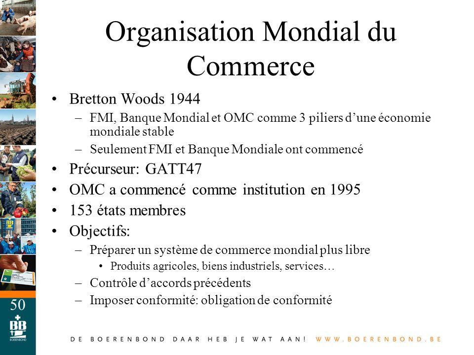 50 Organisation Mondial du Commerce Bretton Woods 1944 –FMI, Banque Mondial et OMC comme 3 piliers dune économie mondiale stable –Seulement FMI et Ban