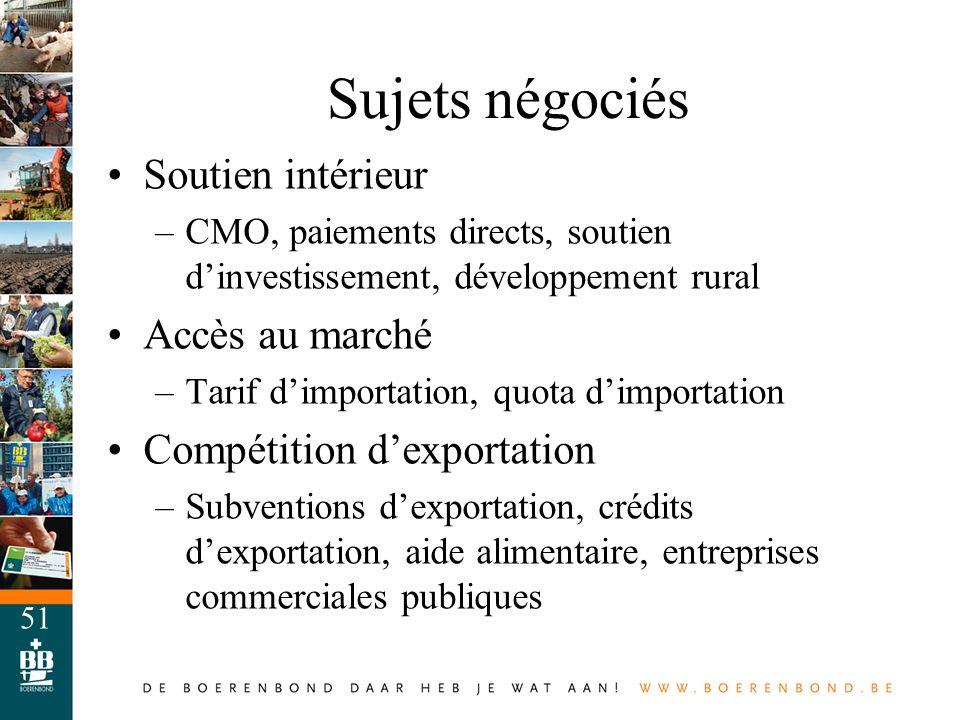 51 Sujets négociés Soutien intérieur –CMO, paiements directs, soutien dinvestissement, développement rural Accès au marché –Tarif dimportation, quota