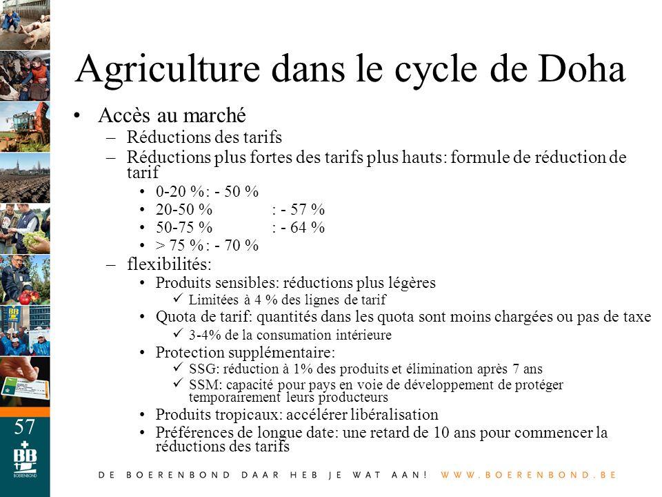 57 Agriculture dans le cycle de Doha Accès au marché –Réductions des tarifs –Réductions plus fortes des tarifs plus hauts: formule de réduction de tar