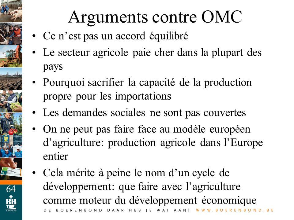 64 Arguments contre OMC Ce nest pas un accord équilibré Le secteur agricole paie cher dans la plupart des pays Pourquoi sacrifier la capacité de la pr