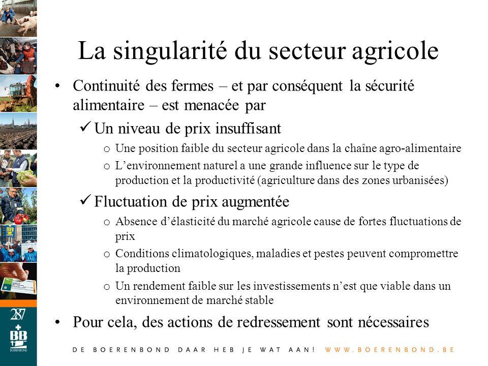 8 La singularité du secteur agricole Continuité des fermes – et par conséquent la sécurité alimentaire – est menacée par Un niveau de prix insuffisant