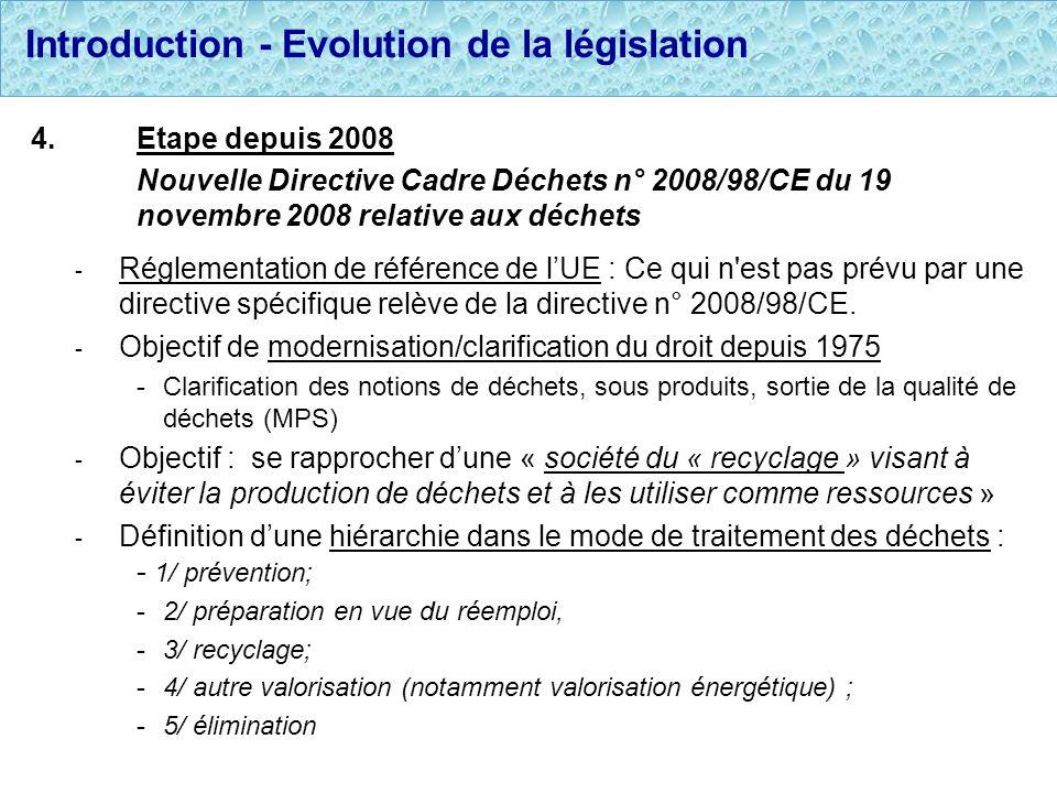 Introduction - Evolution de la législation 4.Etape depuis 2008 Nouvelle Directive Cadre Déchets n° 2008/98/CE du 19 novembre 2008 relative aux déchets