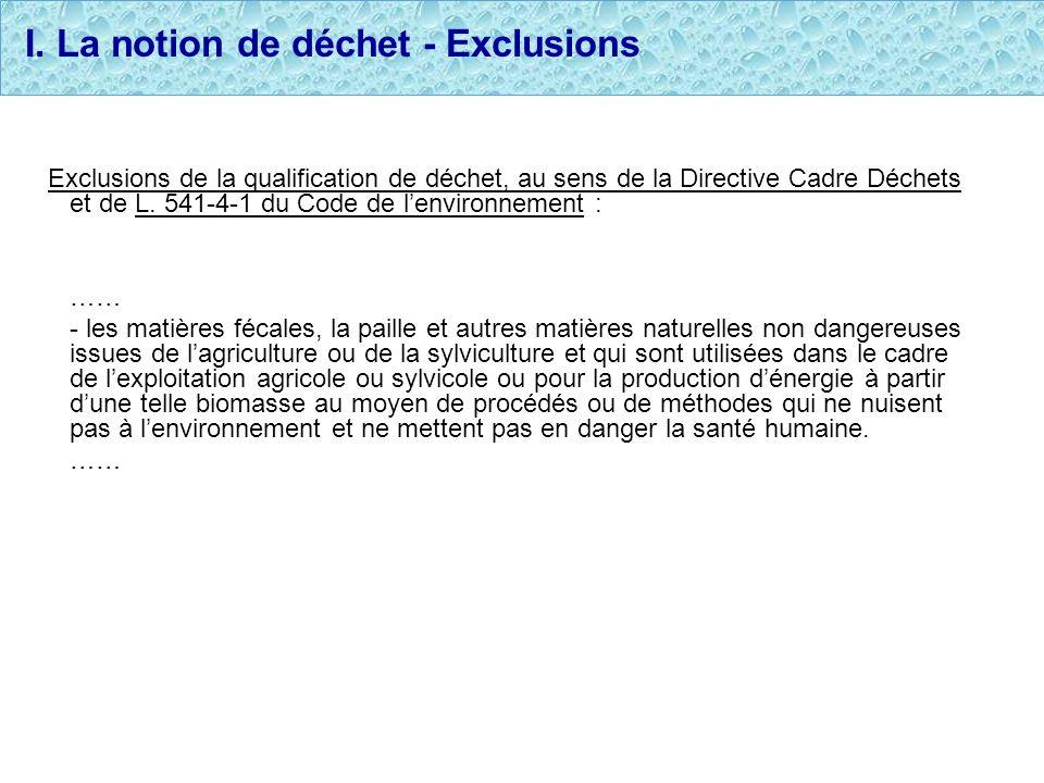 I. La notion de déchet - Exclusions Exclusions de la qualification de déchet, au sens de la Directive Cadre Déchets et de L. 541-4-1 du Code de lenvir