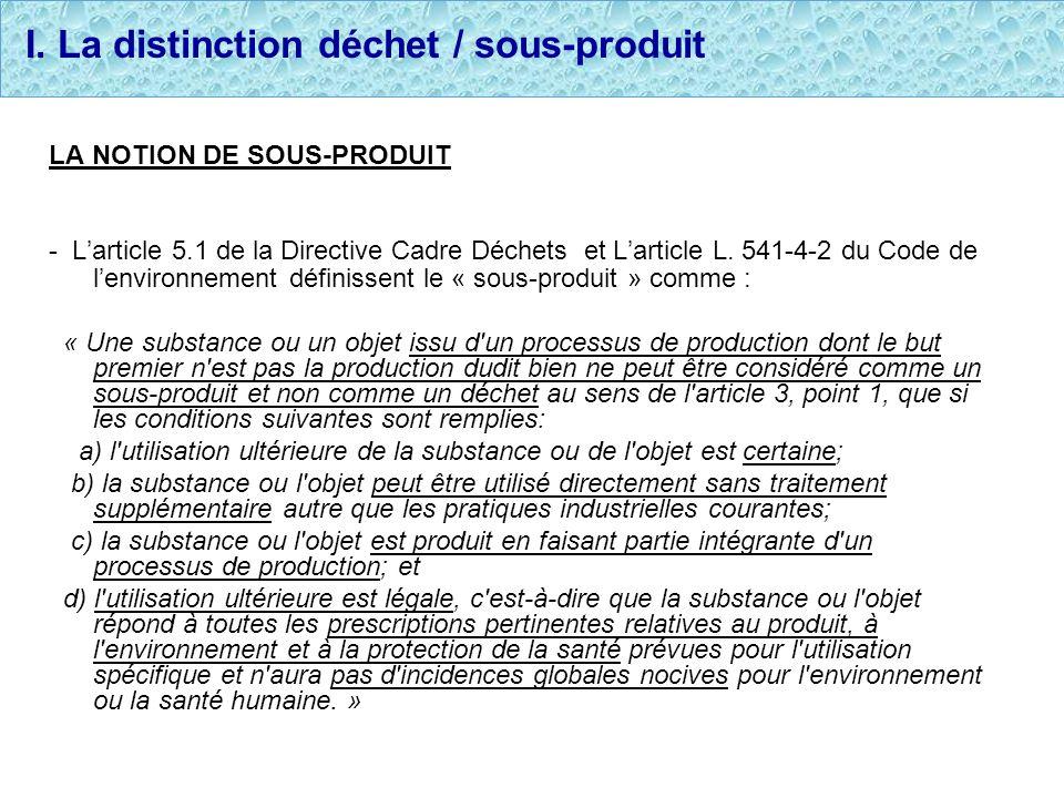 I. La distinction déchet / sous-produit LA NOTION DE SOUS-PRODUIT - Larticle 5.1 de la Directive Cadre Déchets et Larticle L. 541-4-2 du Code de lenvi