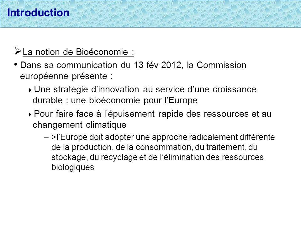 Introduction La notion de Bioéconomie : Dans sa communication du 13 fév 2012, la Commission européenne présente : Une stratégie dinnovation au service