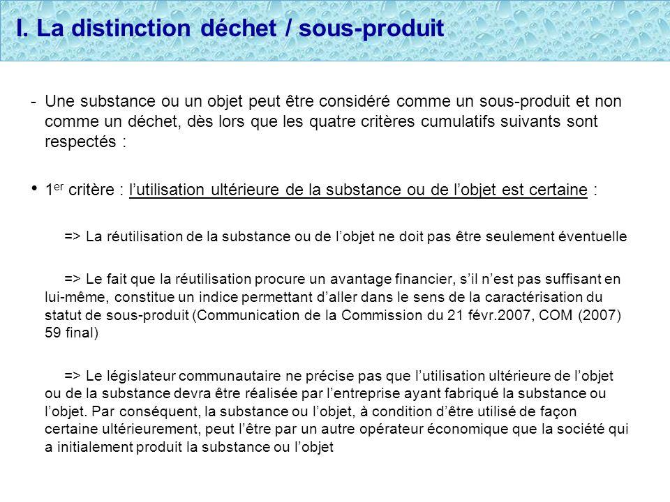 I. La distinction déchet / sous-produit - Une substance ou un objet peut être considéré comme un sous-produit et non comme un déchet, dès lors que les