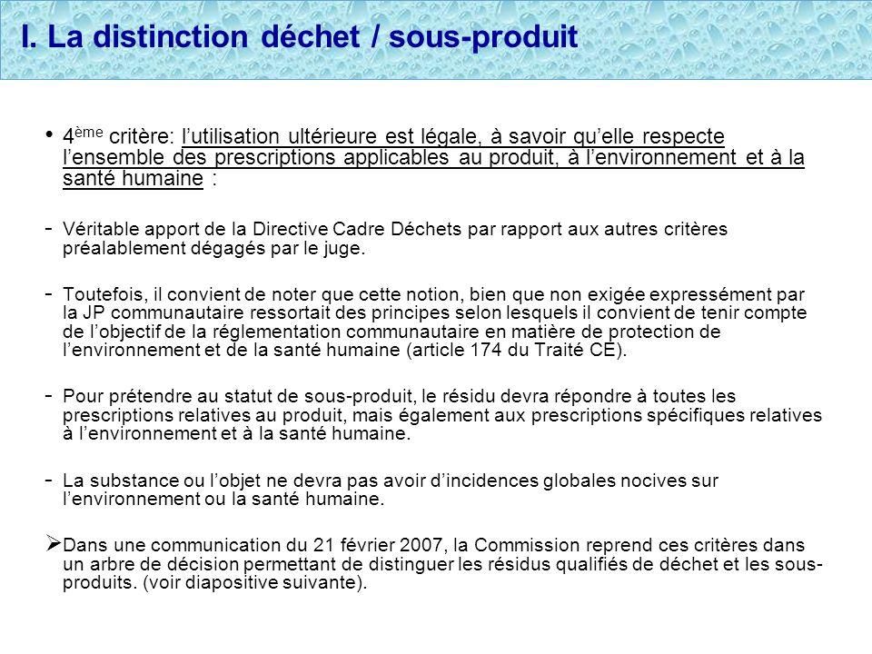 I. La distinction déchet / sous-produit 4 ème critère: lutilisation ultérieure est légale, à savoir quelle respecte lensemble des prescriptions applic