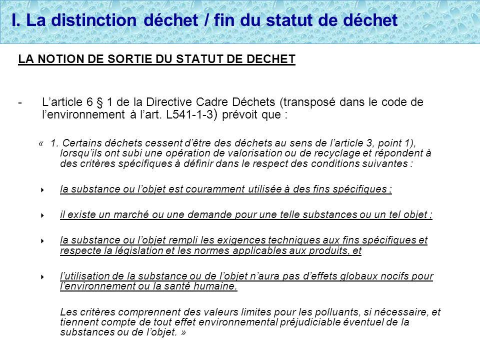 I. La distinction déchet / fin du statut de déchet LA NOTION DE SORTIE DU STATUT DE DECHET -Larticle 6 § 1 de la Directive Cadre Déchets (transposé da