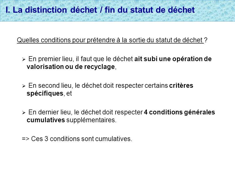 I. La distinction déchet / fin du statut de déchet Quelles conditions pour prétendre à la sortie du statut de déchet ? En premier lieu, il faut que le