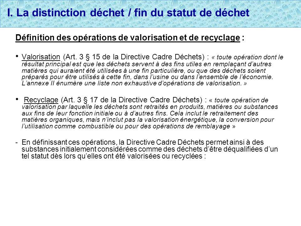 I. La distinction déchet / fin du statut de déchet Définition des opérations de valorisation et de recyclage : Valorisation (Art. 3 § 15 de la Directi