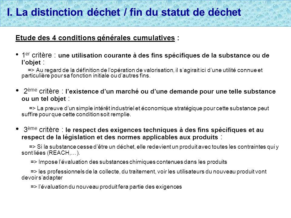 I. La distinction déchet / fin du statut de déchet Etude des 4 conditions générales cumulatives : 1 er critère : une utilisation courante à des fins s