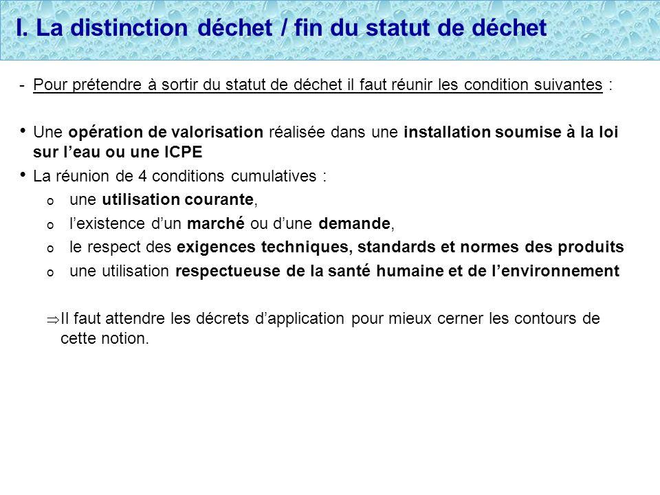 I. La distinction déchet / fin du statut de déchet -Pour prétendre à sortir du statut de déchet il faut réunir les condition suivantes : Une opération