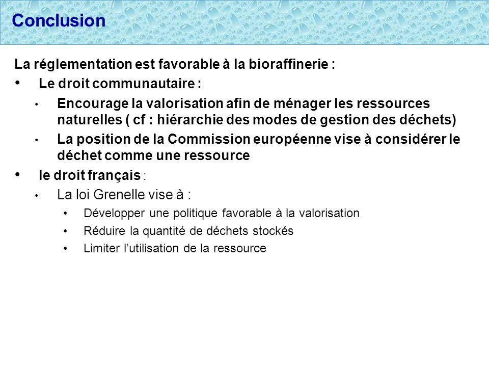 Conclusion La réglementation est favorable à la bioraffinerie : Le droit communautaire : Encourage la valorisation afin de ménager les ressources natu