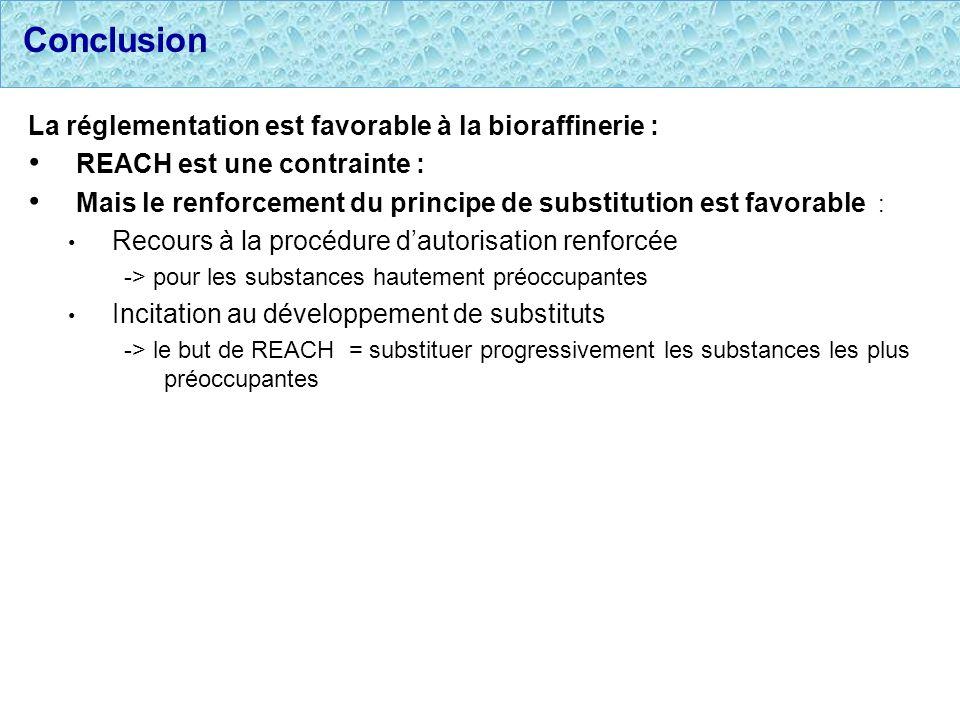 Conclusion La réglementation est favorable à la bioraffinerie : REACH est une contrainte : Mais le renforcement du principe de substitution est favora