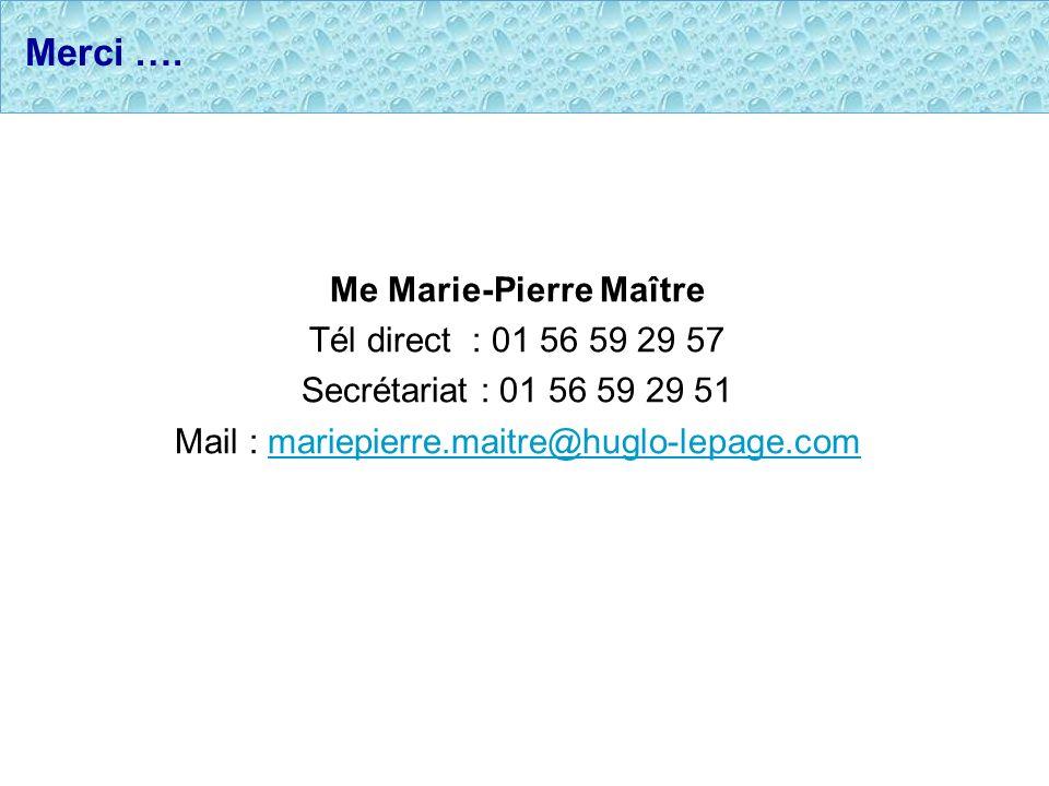 Merci …. Me Marie-Pierre Maître Tél direct : 01 56 59 29 57 Secrétariat : 01 56 59 29 51 Mail : mariepierre.maitre@huglo-lepage.commariepierre.maitre@