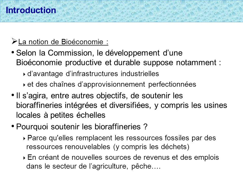 Introduction La notion de Bioéconomie : Selon la Commission, le développement dune Bioéconomie productive et durable suppose notamment : davantage din