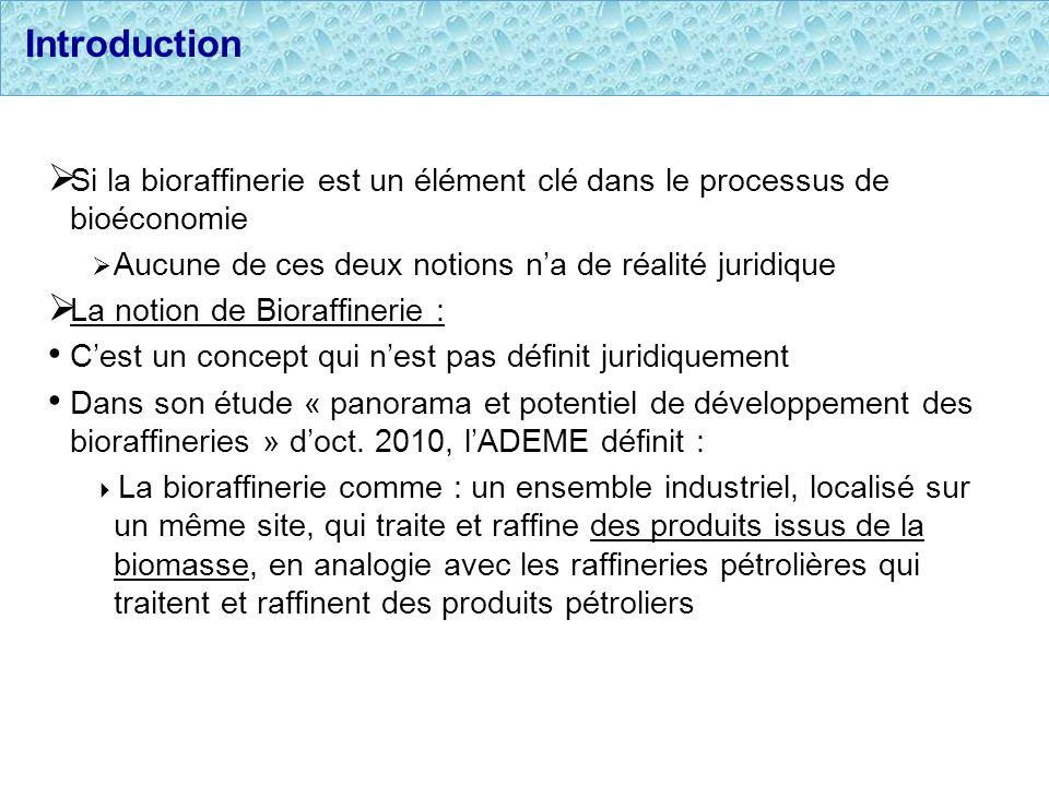 Introduction Si la bioraffinerie est un élément clé dans le processus de bioéconomie Aucune de ces deux notions na de réalité juridique La notion de B