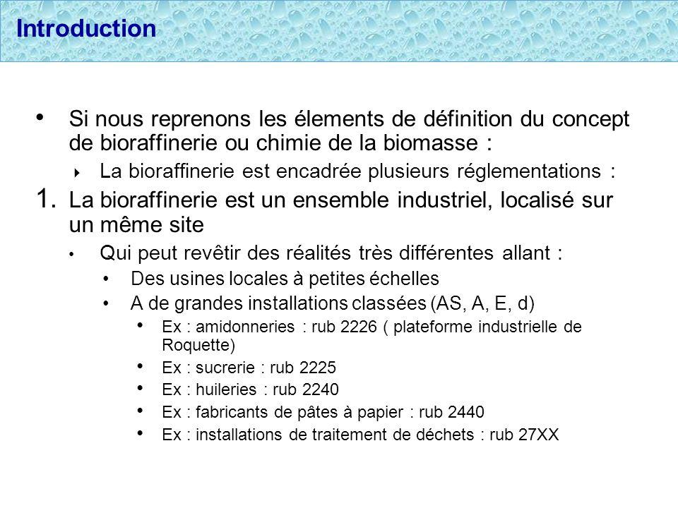 Introduction Si nous reprenons les élements de définition du concept de bioraffinerie ou chimie de la biomasse : La bioraffinerie est encadrée plusieu