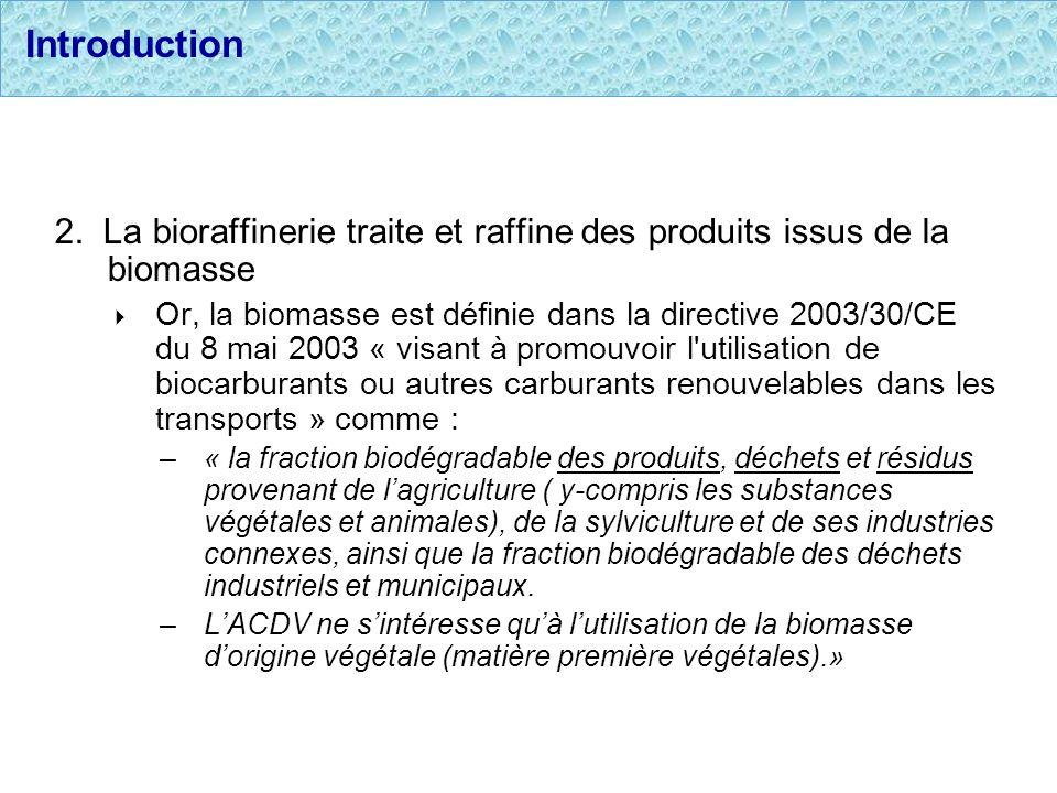 Introduction 2. La bioraffinerie traite et raffine des produits issus de la biomasse Or, la biomasse est définie dans la directive 2003/30/CE du 8 mai