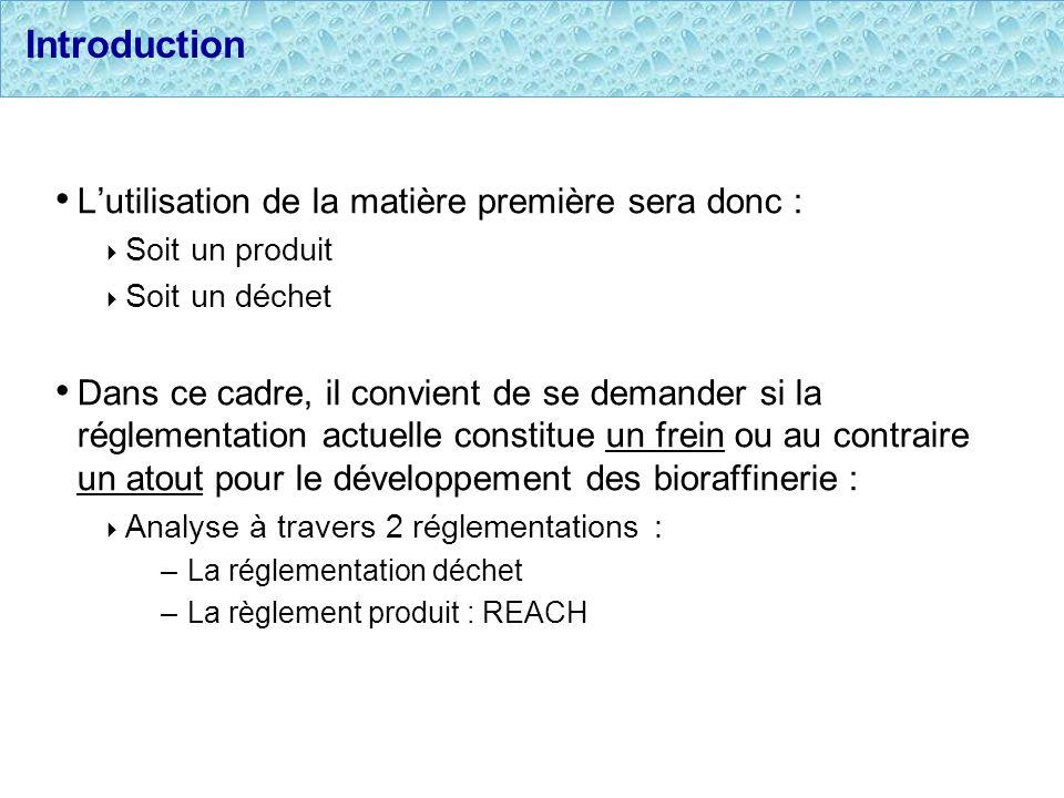 Introduction Lutilisation de la matière première sera donc : Soit un produit Soit un déchet Dans ce cadre, il convient de se demander si la réglementa