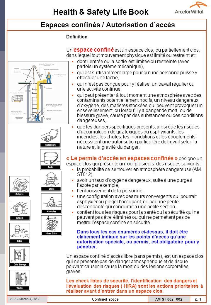 Health & Safety Life Book AM ST 002 - 002 p. 1 v.02 – March 4, 2012 Confined Space Espaces confinés / Autorisation daccès Définition Un espace confiné