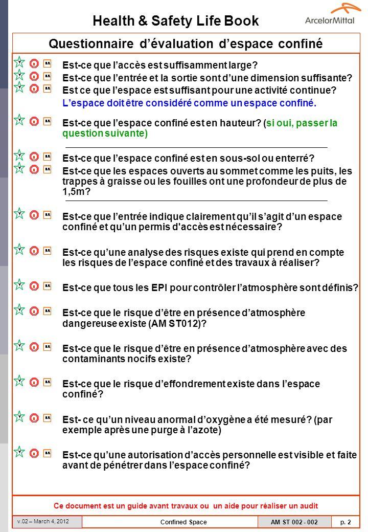 Health & Safety Life Book AM ST 002 - 002 p. 2 v.02 – March 4, 2012 Confined Space Questionnaire dévaluation despace confiné Est-ce que laccès est suf