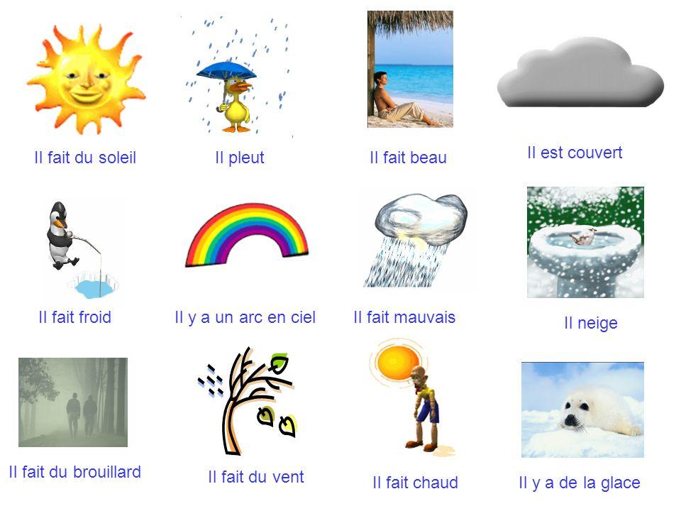 Il fait beauIl fait du soleilIl pleut Il est couvert Il fait froidIl y a un arc en cielIl fait mauvais Il neige Il fait du brouillard Il fait du vent