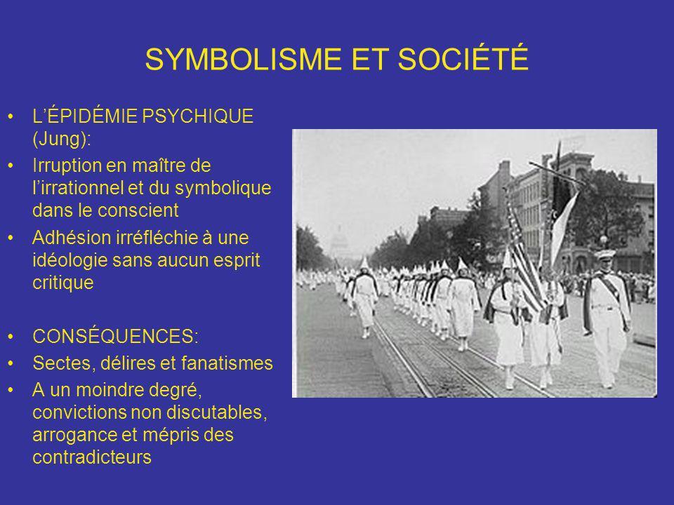 SYMBOLISME ET SOCIÉTÉ LÉPIDÉMIE PSYCHIQUE (Jung): Irruption en maître de lirrationnel et du symbolique dans le conscient Adhésion irréfléchie à une id