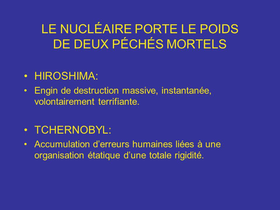 LE NUCLÉAIRE PORTE LE POIDS DE DEUX PÉCHÉS MORTELS HIROSHIMA: Engin de destruction massive, instantanée, volontairement terrifiante. TCHERNOBYL: Accum