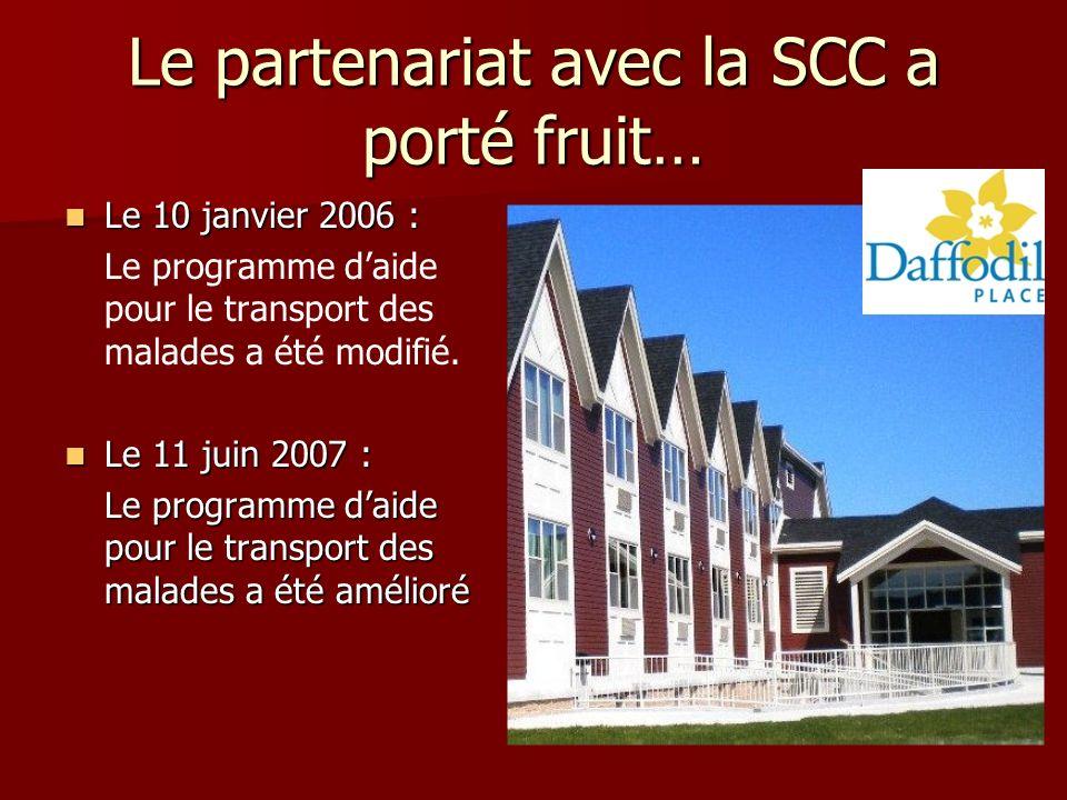 Le partenariat avec la SCC a porté fruit… Le 10 janvier 2006 : Le 10 janvier 2006 : Le programme daide pour le transport des malades a été modifié.