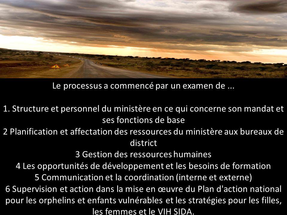 Le processus a commencé par un examen de... 1. Structure et personnel du ministère en ce qui concerne son mandat et ses fonctions de base 2 Planificat